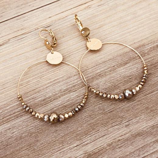 Chloé gwapita boucles d'oreilles earrings earring pyrite ronde creoles perle
