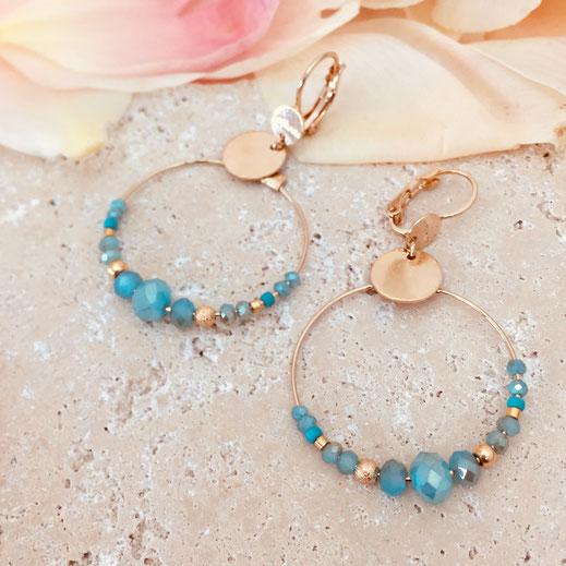 gwapita boucles d'oreilles bijoux création doré chloé mii bleu turquoise caraibe perles