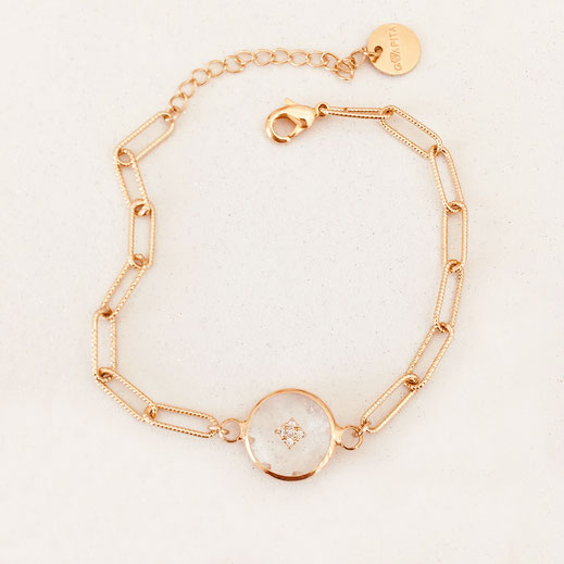 bracelet gris nacré gwapita wapita bijoux bracelets doré fin creatrice createur plaqué or fin cristal rond