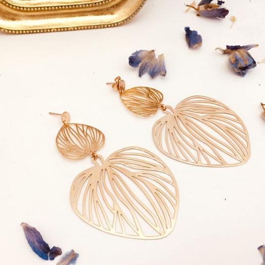 boucles d'oreilles gwapita doré plaqué or creatrice ronde  Chelsea Monica feuille filigrane dentelle fine finesse femmes grosse maxi big bijoux