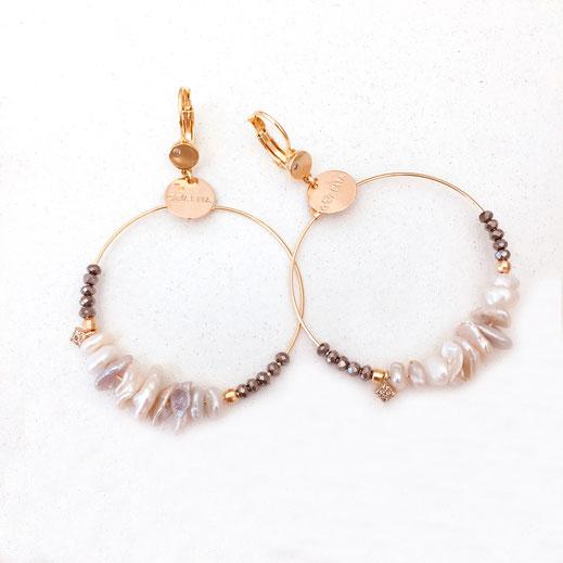 gwapita boucles d'oreilles bijoux création doré gris perles d'eau douce BALI new nouveau nouvelle blanc et gris or