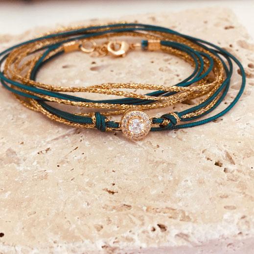 gwapita bracelet adèle vert ruban doré