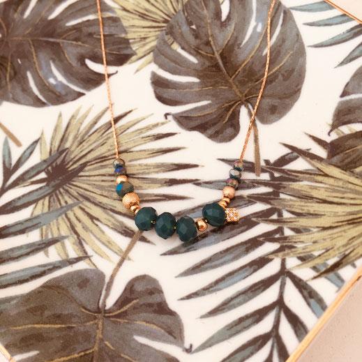 gwapita marius vert perles chaine fil doré or collier