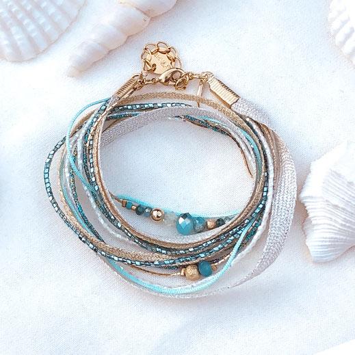 bracelet gwapita fin bijoux France creation finesse perles doré plaqué or  bleu turquoise caraïbe ruban manchettes double tour multirangs perles