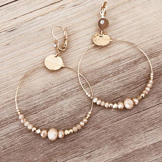 Chloé gwapita boucles d'oreilles earrings earring beige ronde creoles perles