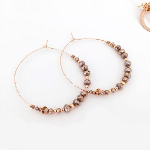 gwapita boucles d'oreilles créoles pyrite earrings perles doré plaqué or creation bijoux