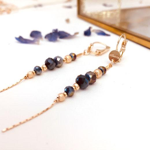 boucles d'oreillemetalic annabelle chaine longue fine perles  doré  gwapita bijoux femme fin
