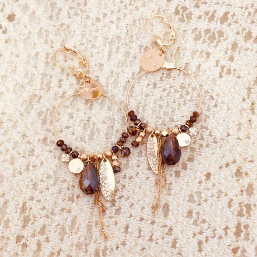 boucles d'oreilles Valentina wine marsala new earrings gwapita doré