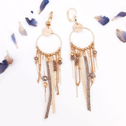 boucles d'oreilles earring samba Gwapita longue chaines doré gris