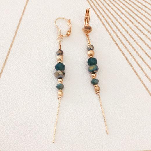 gwapita annabelle longue chaine fine perles beige nude doré boucles d'oreille earring verte vert