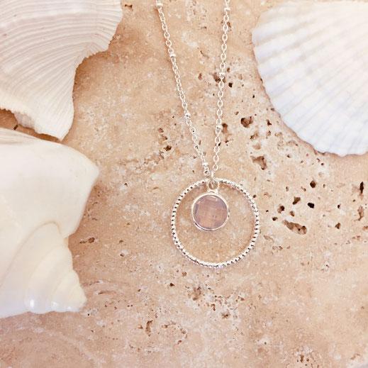 lola collier rose opal necklace gwapita argent argenté rond pierre sertie fin femme cadeau
