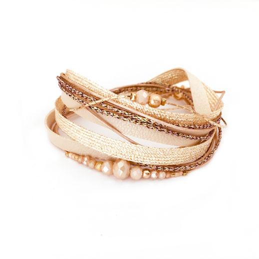 bracelet gwapita bijoux français france createur fin doré plaqué or perles  beige