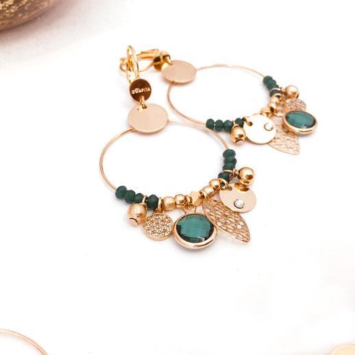 boucles d'oreilles noire gwapita belle grosse creole ronde breloque papille perles doré plaqué or bijoux earrings vert