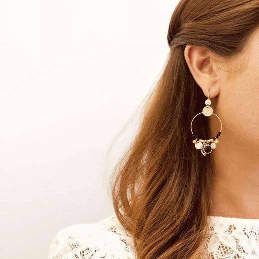 sasha gwapita boucles d'oreilles noir perles pampilles createur bijoux doré or