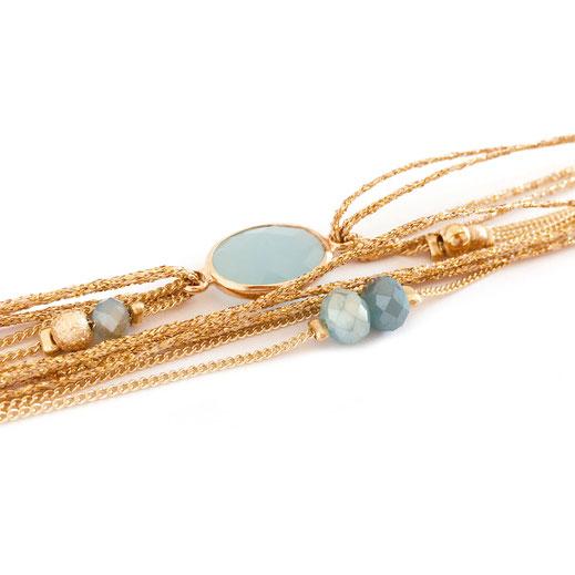bracelet gwapita fin bijoux France creation finesse perles doré plaqué or Jules bleu turquoise pierre sertie oval perles rubans multirangs