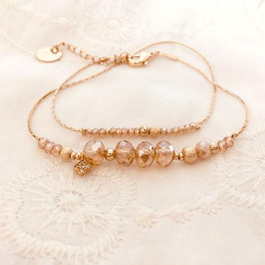 bracelet gwapita champagne perles chaines