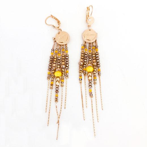 boucles d'oreilles diva gwapita jaune pyrite longues iconqiues