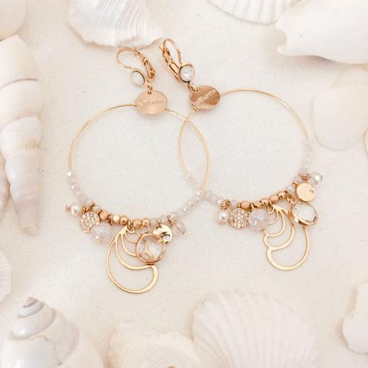 boucles d'oreille balnc cristal calypso gwapita bijoux femme fin doré zirconium diamants