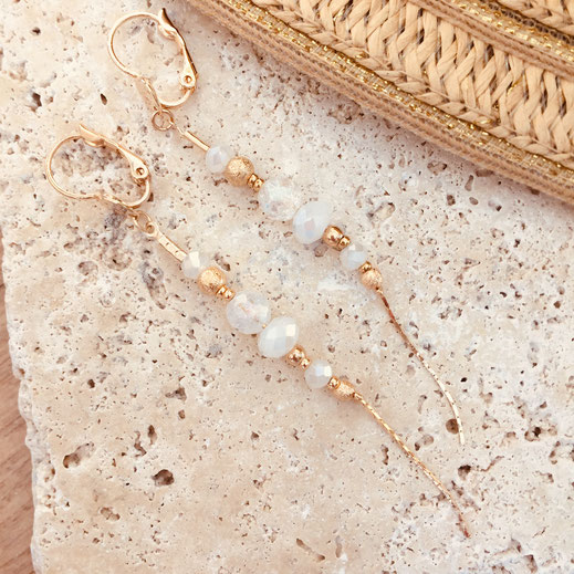 bo boucles d'oreilles gwapita wapita new collection creation bijoux mathilde perle d'eau douce jewels jewelry earrings gold plated plaqué or doré France blink ANNABELLE perles longue