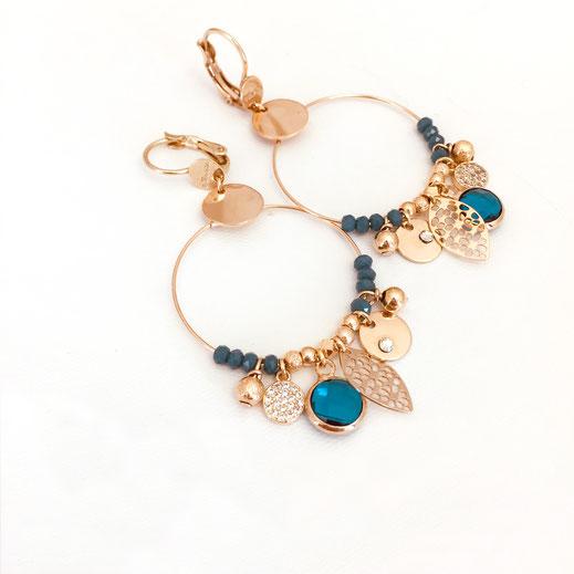 gwapita sasha océan bleu iconique boucles d'oreilles earring earrings pampilles creation creatrice
