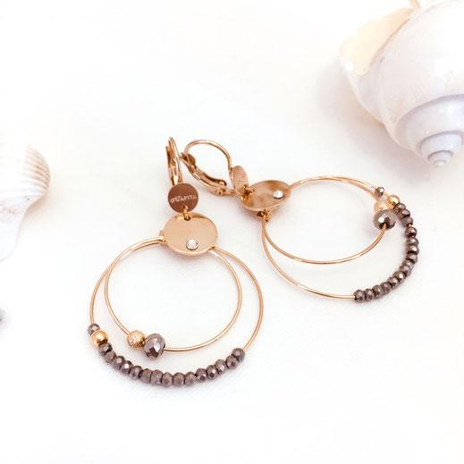gwapita olivia mini creation boucles d'oreilles gris metalisé foncé anneaux creoles double