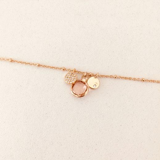 bracelet gwapita fin bijoux France creation finesse perles doré plaqué or  rose IGOR