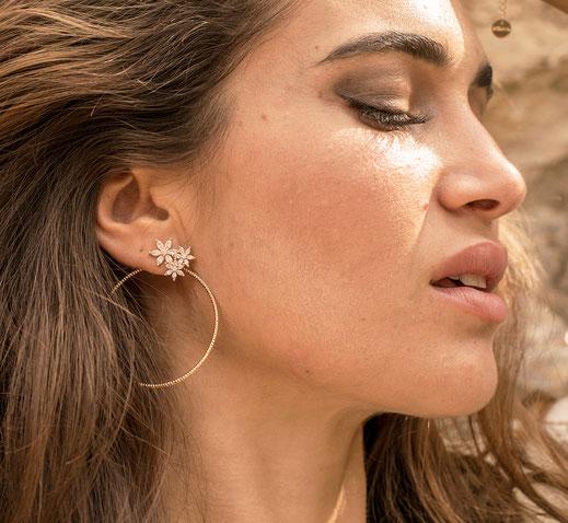 boucles d'oreilles gwapita doré plaqué or creatrice ronde CREOLE ANNEAU FLEUR BRILLANT BLANC CRISTAL ZIRCONIUM JOSEPHINE