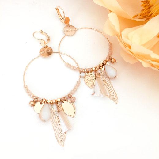 gwapita boucles d'oreilles bijoux création doré  gipsy iconiques chic pompon goute grosse boucles or