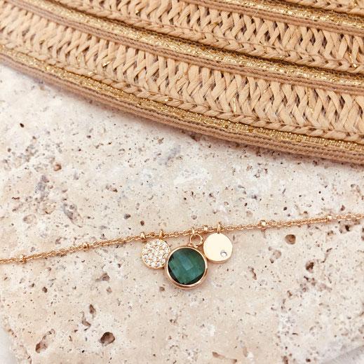 bracelet vert tropique serti pierre zirconium IGOR  gwapita wapita bijoux bracelets doré fin creatrice createur plaqué or fin