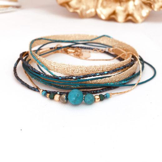 gwapita bijou bracelet vert multi tours ruban perles doré femme creatrice france