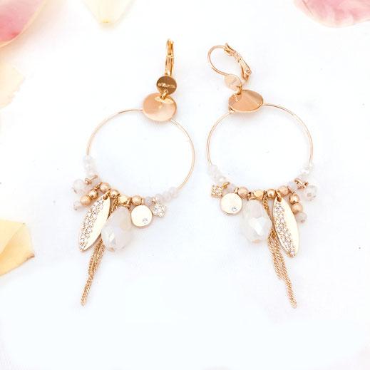 gwapita boucles d'oreilles bijoux création doré valentina blanc iconiques pampilles zircon wapita brillant