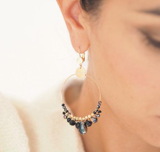 gwapita boucles d'oreilles noir creoles ronde perles gouttes multi breloques pampilles