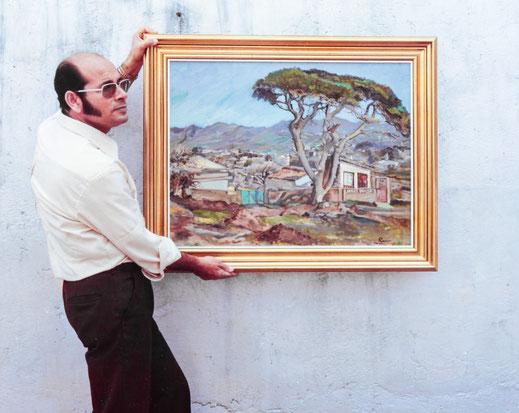 Peraza sosteniendo el paisaje. Años 70