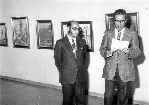 Apertura de exposición en el Círculo de Bellas Artes. Peraza con Gilberto Alemán año 1977.