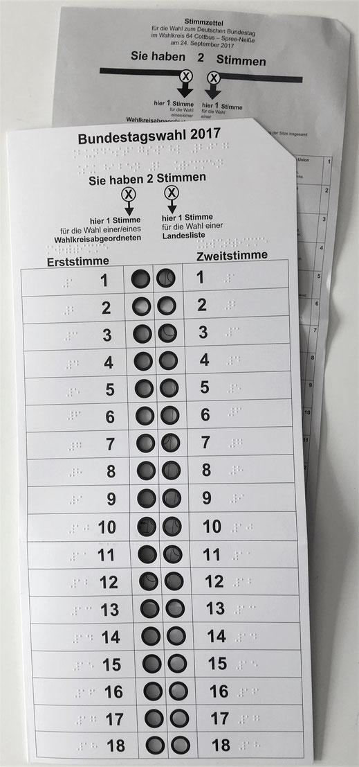 Stimmzettelschablone für blinde und sehbehinderte Menschen  zur  Bundestagswahl 2017 im Land Brandenburg