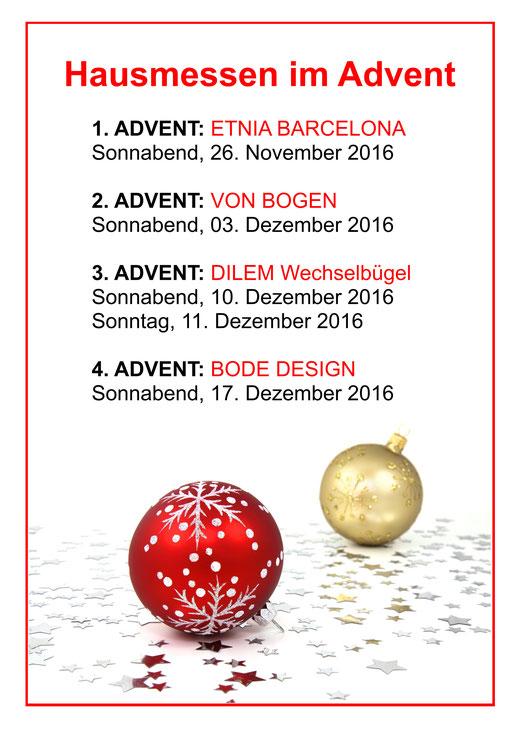 Hausmessen im Advent mit Etnia Barcelona, von Bogen, Dilem und Bode Design in Spremberg.