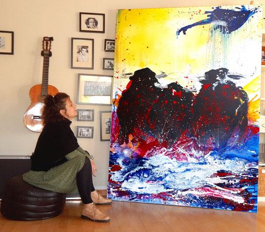 bild stier 200 x 100 cm gemalt