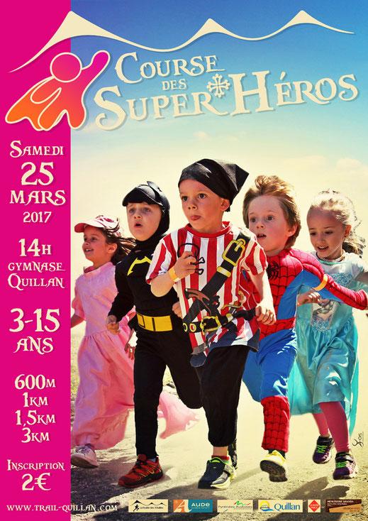 Course enfants - Course des Super Héros - Trail Quillan 2017