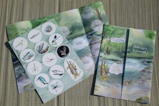 poster pédagogique, rivière, stickers, outils, malette, jeux, enfants, nature