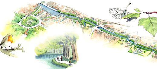 cartographie, illustrée, illustration, plan illustré, carte touristique, plan de ville illustré, plan de site