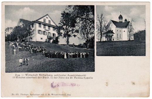 Postkarte datiert 30. Oktober 1914: Wirtschaft Röthelberg, schönster Aussichtspunkt