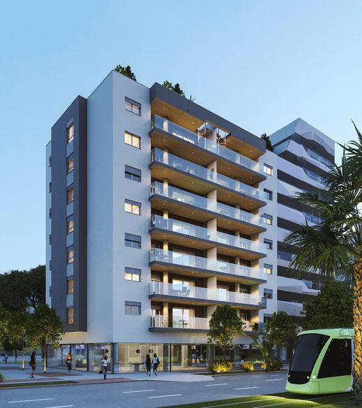 Render arquitectura. Edificio de viviendas.