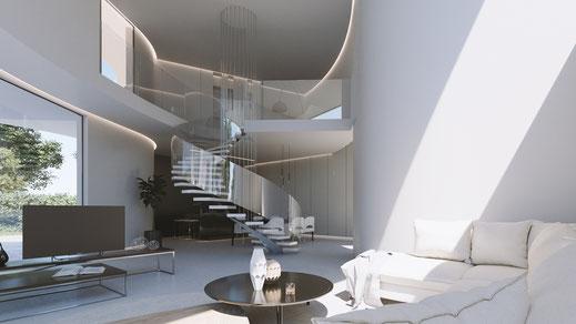 Infografía 3D interior salón