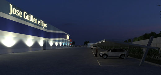 Render 3D nave industrial Madrid