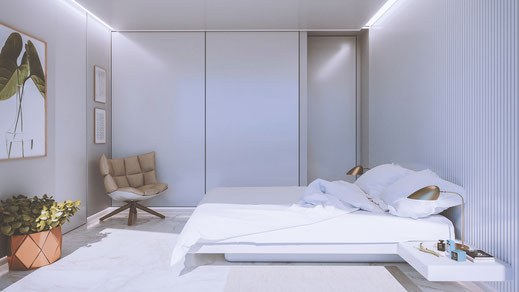 Infografía. Render 3D. Dormitorio