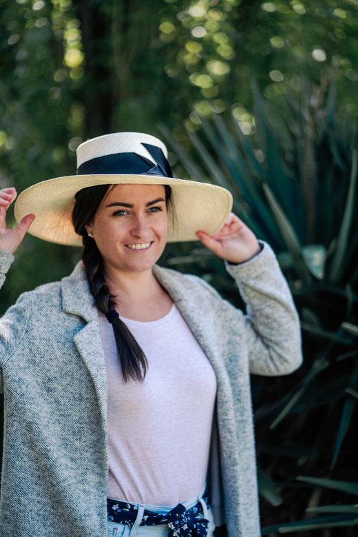 Chapeau de forme capeline en toile panama pour femme