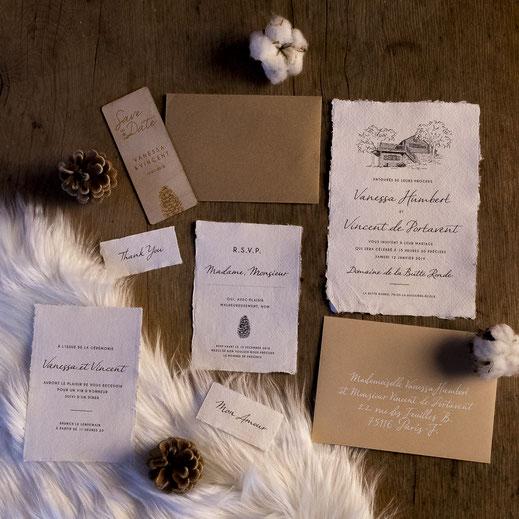 Papeterie de mariage hivernale sur-mesure avec du papier en coton et une calligraphie personnalisée (Callyane)