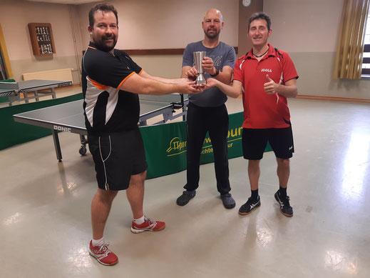 Pokalübergabe vom Abteilungsleiter Daniel an Doppelsieger Florian und Henning