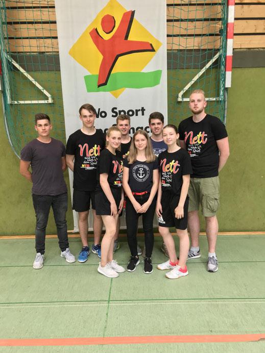 die MTV-Gruppe von links: Rene Steinnagel, Justus Hake, Ann-Sophie Geide, Simon L,eder Veronika Naumann, David Kemenji, Katharina Keist und Nils Wolter.