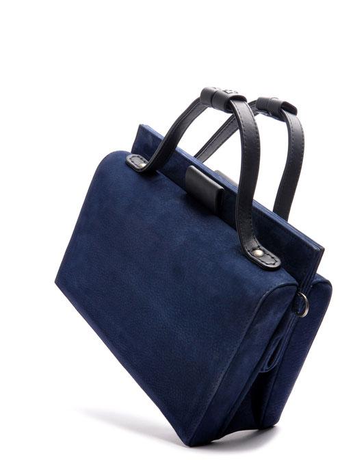 Nostalgische Tasche ESTELLE Leder blau OSTWALD Tradition